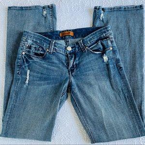 SEVEN7 Distressed Boot Cut Jeans Rhinestone Trim